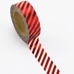 Washi tape foil blanco raya roja. 15 mm x 10 m