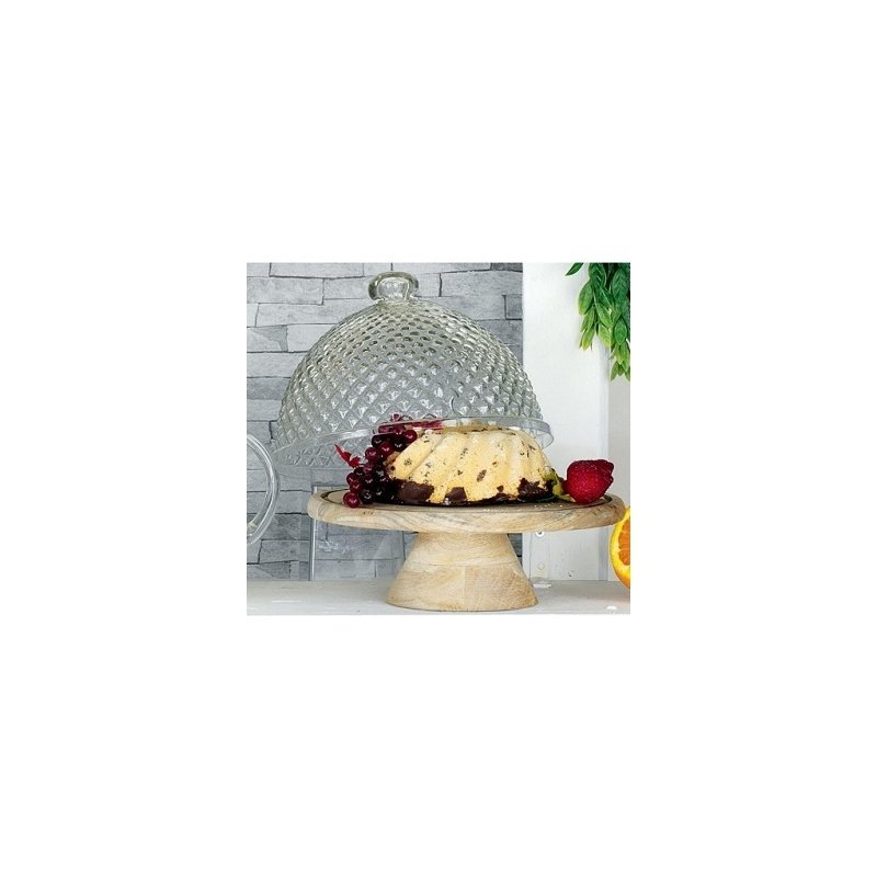 Campana de cristal con base de madera natural rombos - Campana de cristal ikea ...