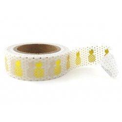 Washi tape blanco, piña metalizado oro. 15 mm x 10 m