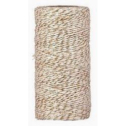 Baker twine grueso, dorado metalizado, cordón para regalos. 100 m.