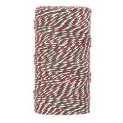 Baker twine grueso, rojo, verde y blanco, cordón para regalos. 100 m.
