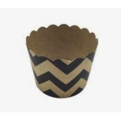 12 Tarrinas-cápsulas de papel kraft, decoradas en chevron-zig zag negro