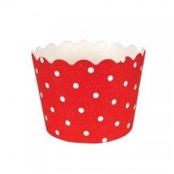 12 Tarrinas-cápsulas de papel, rojas con mini lunares blancos