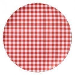 12 Platos de papel, cuadritos vichy rojos. 18 cms