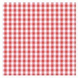 20 Servilletas de papel, cuadritos vichy rojos