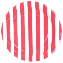 12 Platos de papel, rayas rojas y blancas. 23 cms