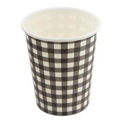 12 Vasos de papel, cuadritos de vichy negros