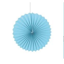 Abanicos de papel azul claro. 35 cms