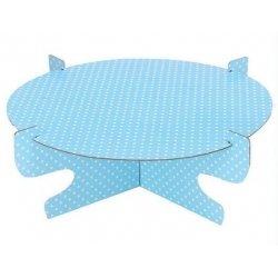Stand-bandeja para tarta, azul claro con lunares blancos