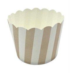 12 Tarrinas-cápsulas de papel, rayas beige