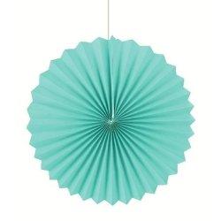 Abanico de papel turquesa. 35 cms