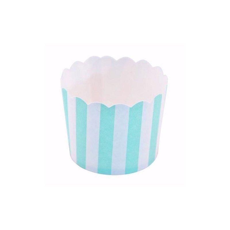 12 Tarrinas-cápsulas de papel, rayas turquesa-mint