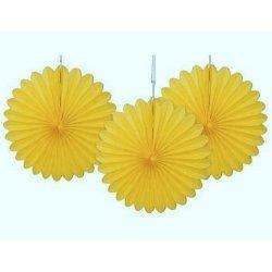 Abanico de papel amarillo. 35 cms