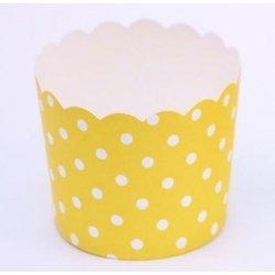 12 Tarrinas-cápsulas de papel, mini lunares, amarillo
