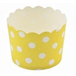 12 Tarrinas-cápsulas de papel, lunares, amarillo