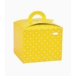 6 Cajas con asita, amarillas con lunares blancos