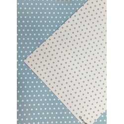 10 Hojas de papel A4, impreso a doble cara. Lunares azul claro.