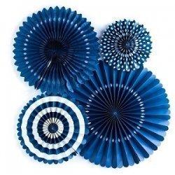 Set de 4 abanicos-molinillos, color azul marino.