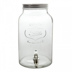 Dispensador de bebidas, con tapa metálica y grifo. 8 litros.