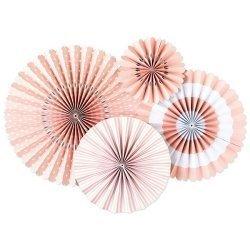 Set de 4 abanicos-molinillos, color rosa claro