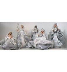 Nacimiento/belén/misterio plata, gris y blanco 5 piezas