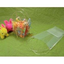20 Bolsas pot en plástico transparente/asas de tubo.