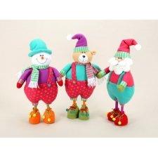 Trio de muñecos navideños, papa noel, osito y muñeco de nieve. 45 cms
