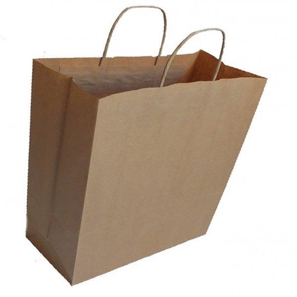 25 Bolsas de papel kraft con asa retorcida, 22x9x23