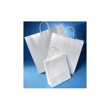 Bolsa de papel blanco con asa retorcida, 44x15x46 10 unidades