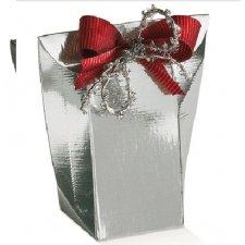 Caja de regalo auto montable shoppy, seda plata. c/25 uds