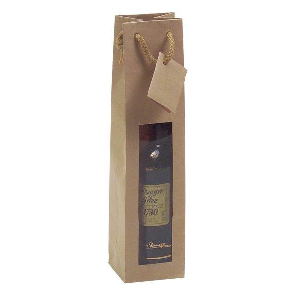 25 Bolsas para botella, kraft con ventana 9.2x8.8x38