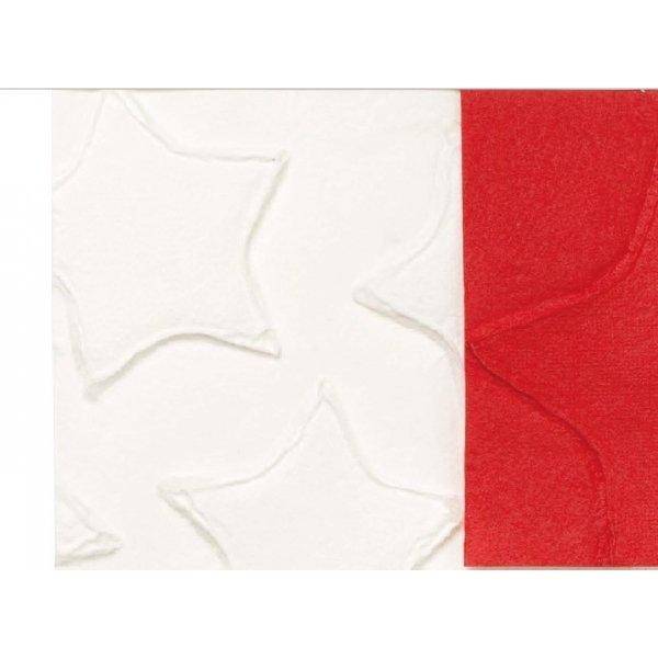 Papel de regalo, estrellas rojas relieve. 70x100