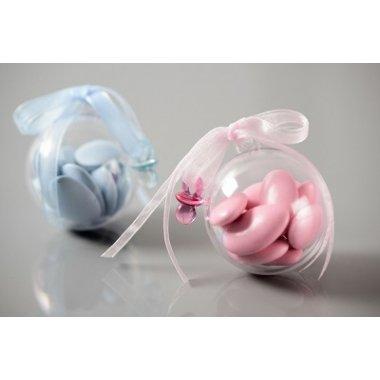 10 Bolas o caja de plástico transparente. 5 y 8 cms.