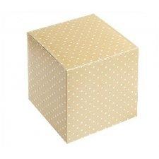 25 Caja de regalo cuadrada beige con motas blancas. Varias medidas
