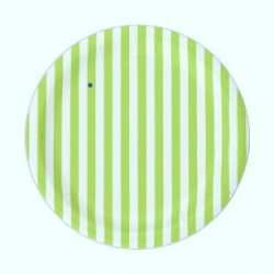 12 Platos de papel, Rayas pistacho. 23 cms