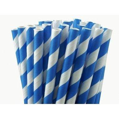 Pajitas de papel rayas azules c/25 uds.