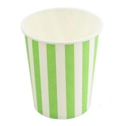 12 Vasos de papel, rayas pistacho