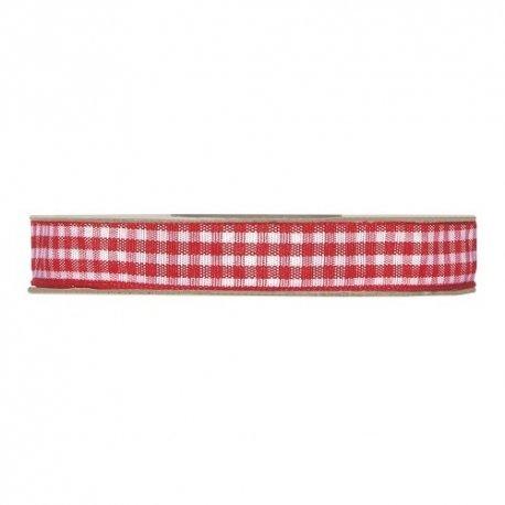 20 m de Cinta de regalo rústica, vichy rojo. 10 mm