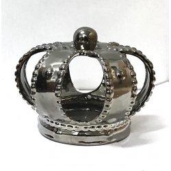 Corona de reyes magos, cerámica plata 16x16 cms