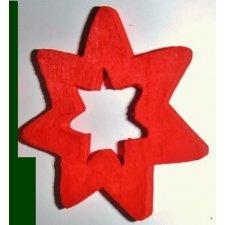 36 Estrellas de madera, roja