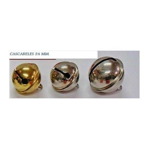 25 Cascabeles plateados 24 mm