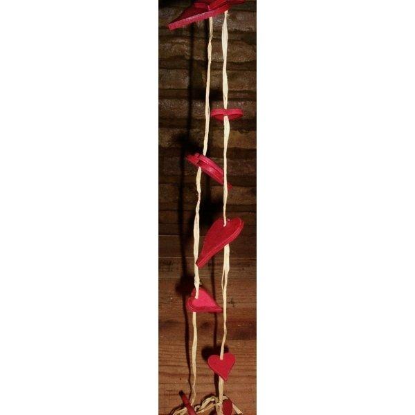 3 Guirnaldas corazones de madera rojos