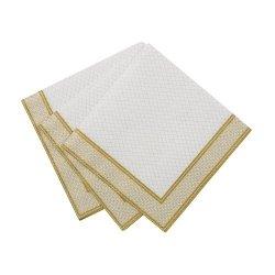 20 Servilletas dorado/blanco 25x25 cms