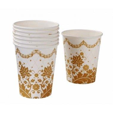 Vaso de papel dorado y blanco 250ml. c/12 uds