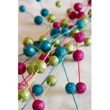 Vara con bolas de glitter. 70 cms. Varios colores