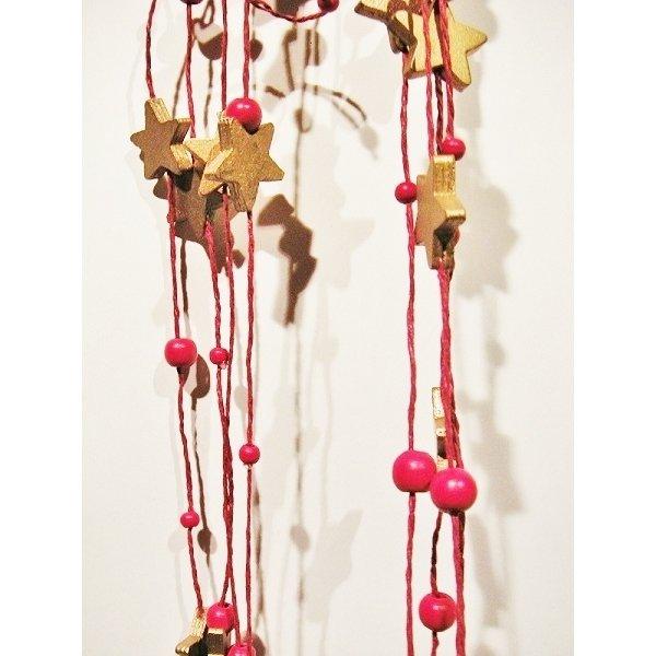 Guirnalda estrellas+bolas madera. 20m