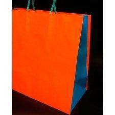 Bolsa de papel bicolor naranja - turquesa 25x12x24 C/5 unidades