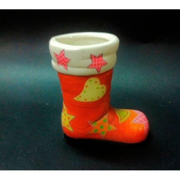 10 Botas de Papa Noel, cerámica naranja 8x9 cms