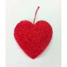 Corazón de sisal 7 cms. C/18 uds