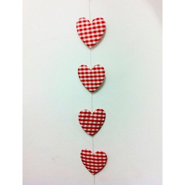 Guirnalda corazón vichy 8 cms x 2 m